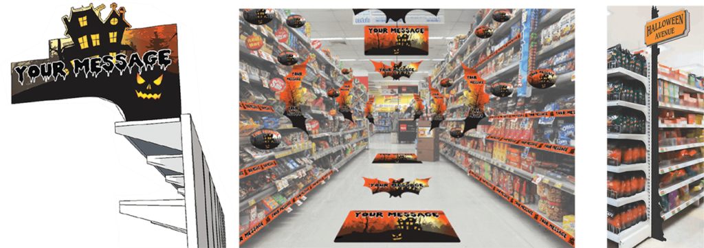 signs in a store aisle way for Halloween
