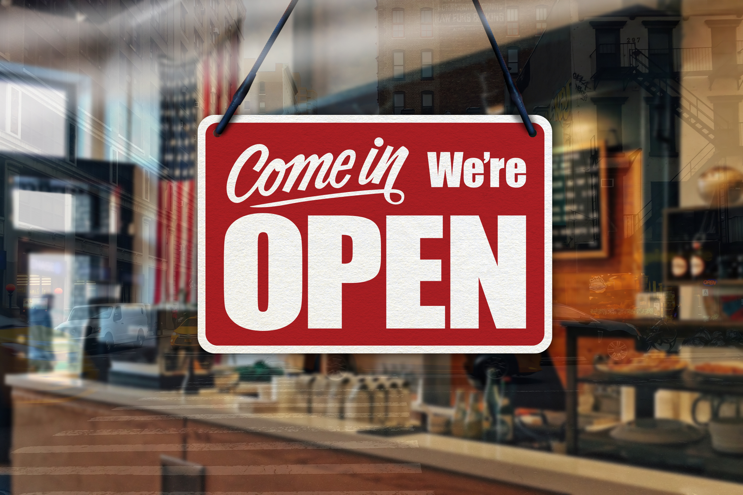 come in we are open sign in red and white
