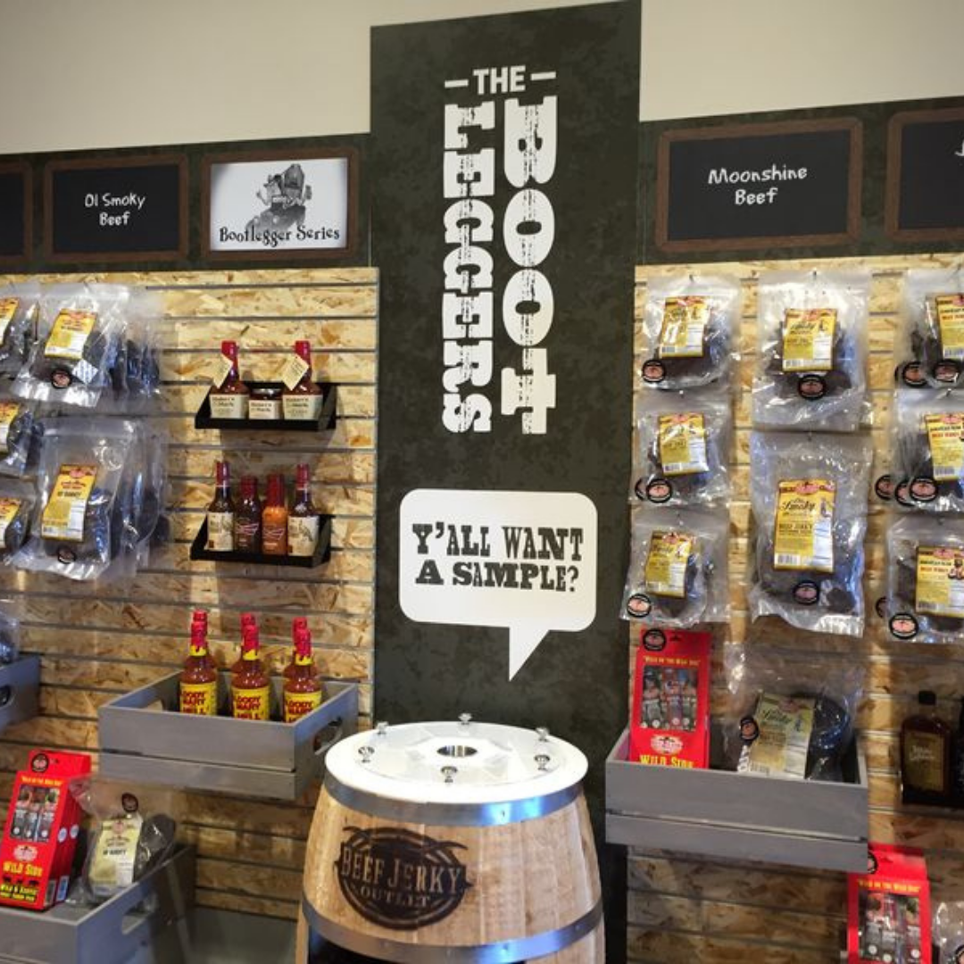 Beef Jerky Outlet merchandise display executed by KDM.