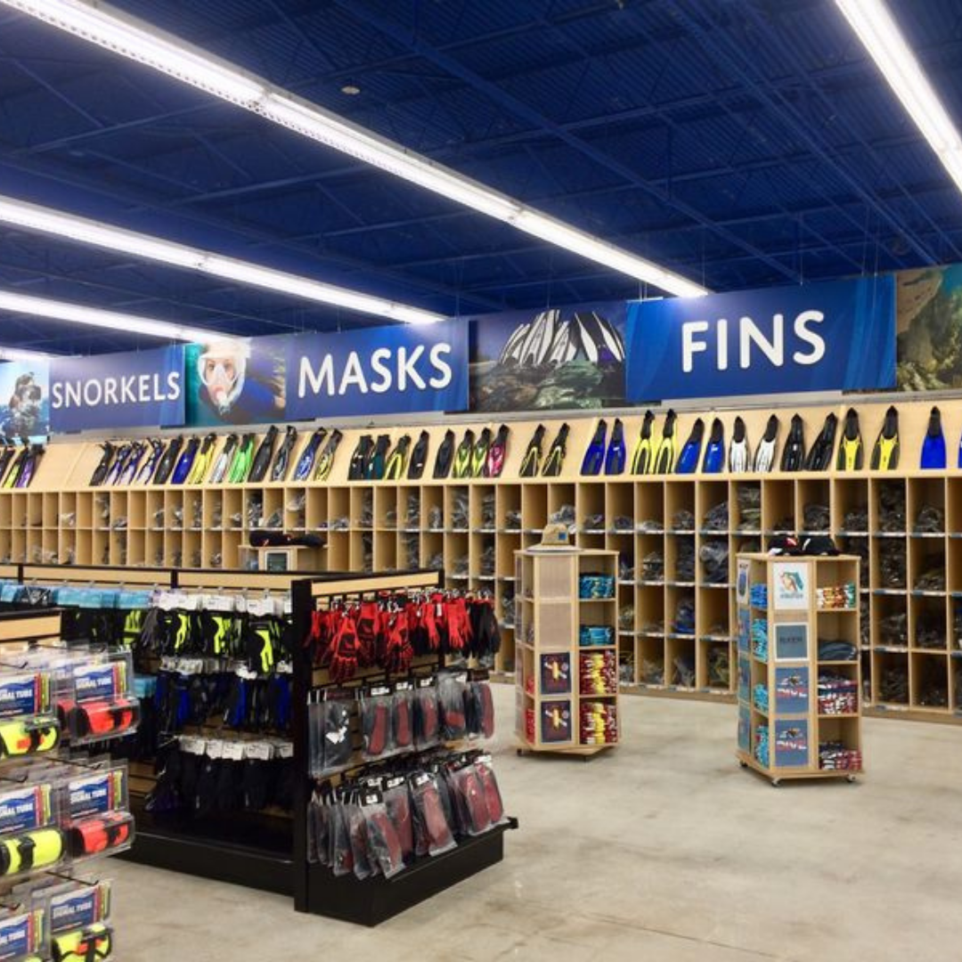 Divers Direct retail environment executed by KDM.