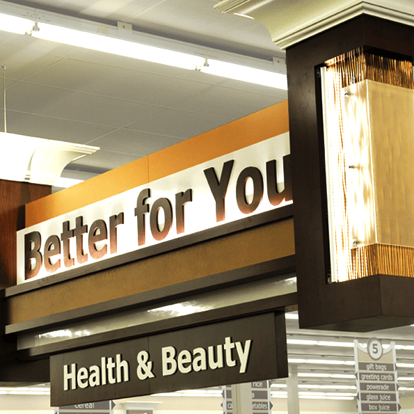 beeter for you grocery store hanging sign