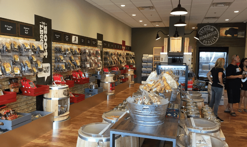 inside of beef jerky outlet store with people