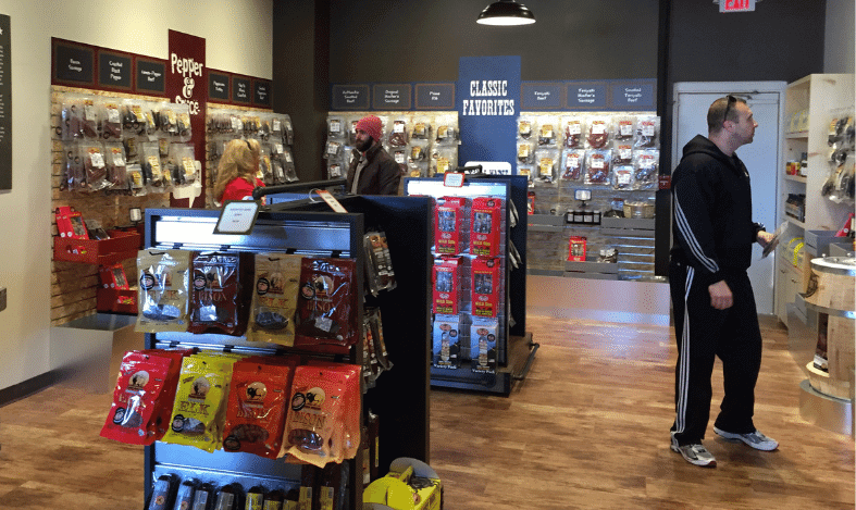 beef jerky inside store with displays