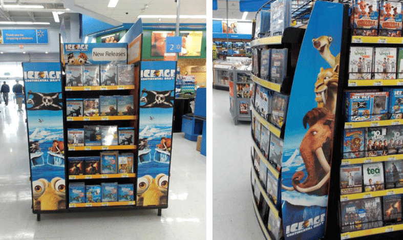 walmart movie section signage and shelving
