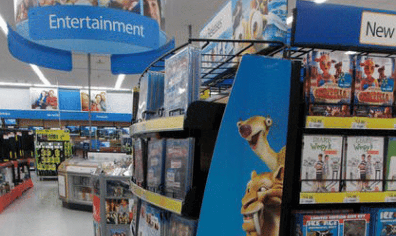 movie section of walmart