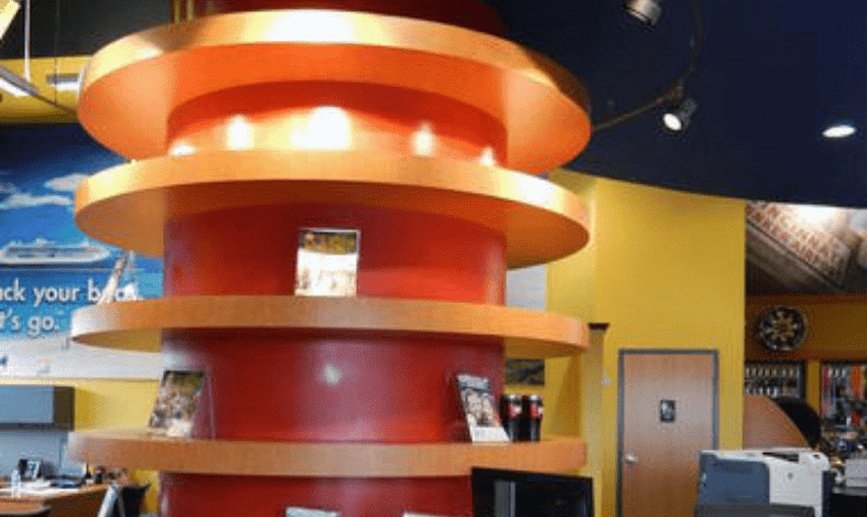 circular shelving on a counter top to the ceiling