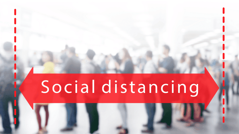 red arrow with people in the background wording social distancing