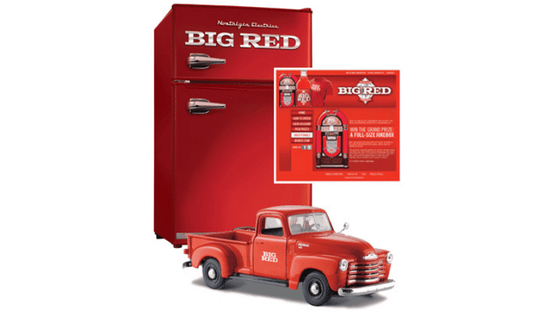 big red truck and red safe