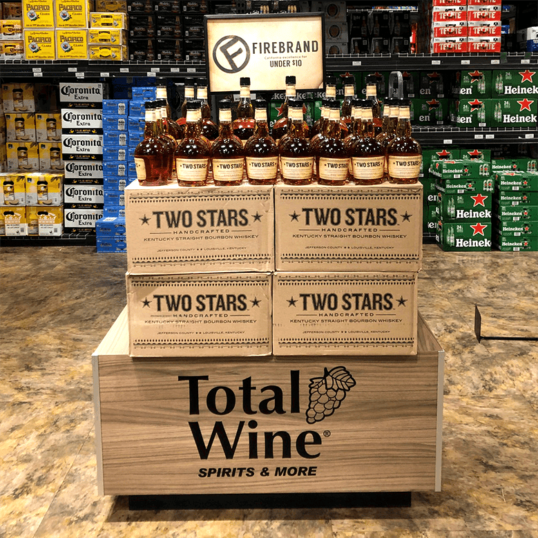 wood texture total wine and more beverage retail grocery merchandise end caps displays interior shop kdm retail design trends