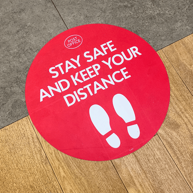 Red Floor Graphics Social Distancing Solutions Stay Safe and Keep your distance feet retail grocery